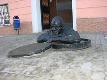 EKATERINBURG, RUSIA - 27 DE FEBRERO DE 2012: Foto de la fontanería del monumento Foto de archivo