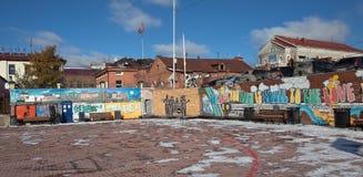 EKATERINBURG, RUSIA - 21 DE OCTUBRE DE 2015: Foto de la pared el Beatles Foto de archivo libre de regalías