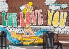 EKATERINBURG, RUSIA - 21 DE OCTUBRE DE 2015: Foto del fragmento de A de la pared, Beatles fotografía de archivo