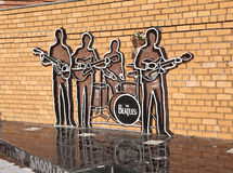 EKATERINBURG, RUSLAND - OKTOBER 21, 2015: Foto van Monument aan Beatles Stock Afbeeldingen