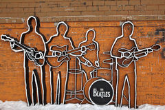 EKATERINBURG, RUSSIA - FEBRUARY 11, 2015: Photo of Monument to The Beatles. Royalty Free Stock Image