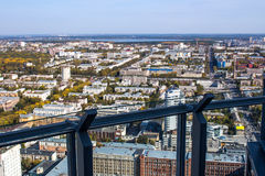 Ekaterinburg, Russia - September 24.2016: Glass screen on a viewing platform 52 floors Royalty Free Stock Images
