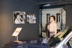Ekaterinburg, Russia - September 24.2016: Wax figure and car. Ekaterinburg, Russia - September 24.2016:  Wax figure and car in Vladimir Vysotsky`s museum Royalty Free Stock Images