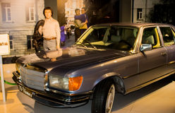 Ekaterinburg, Russia - September 24.2016: Wax figure and car. Ekaterinburg, Russia - September 24.2016:  Wax figure and car in Vladimir Vysotsky`s museum Royalty Free Stock Image
