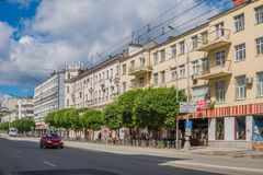 Ekaterinburg, Russie - 3 juillet 2017 : Rues de ville au centre Images stock