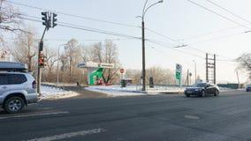 Ekaterinburg, Russische Föderation - 4. Februar 2018: Automatische Tankstelle Bashneft Lizenzfreie Stockfotos