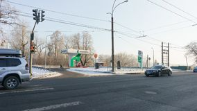 Ekaterinburg, Russische Federatie - 4 Februari, 2018: Automatisch benzinestation Bashneft Royalty-vrije Stock Foto's