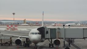 Ekaterinburg, Russland - Dezember 2017: Flughafen Vorbereiten von Flugzeugen für Flug Last des Gepäcks stock video