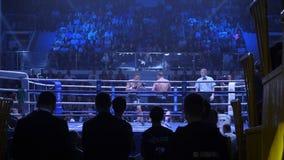 Ekaterinburg Ryssland - April 16, 2017: Boxas kamp på lättvikts- för titeln Sikten från under ställningarna Royaltyfri Foto