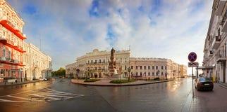 Ekaterininskaya Square in Odessa. Panoramic view of Ekaterininskaya Square in Odessa at sunrise, Ukraine stock photography
