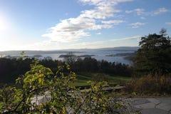 Ekeberg公园视图奥斯陆海湾挪威 免版税库存照片