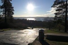 Ekeberg雕刻家公园视图奥斯陆海湾挪威 免版税库存图片