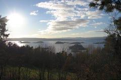 Ekeberg雕刻家公园风景视图奥斯陆海湾 免版税库存图片