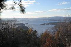 Ekeberg parkerar den siktsOslo fjorden Norge Arkivbilder