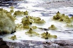 Ekelhafter weiß-gelber Schaum auf dem Wasser Stockbilder