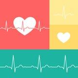 EKG和心脏传染媒介医疗集合 免版税库存图片