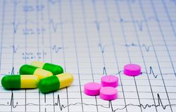 EKG或ECG心电图图表报告纸 EST锻炼压力测试结果和药片 心脏chec的包裹促进 库存照片