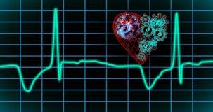 EKG显示器 蓝色ECG显示器显示健康心跳 无缝的圈 向量例证