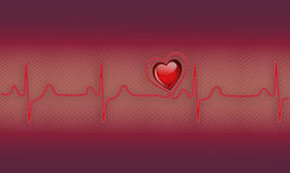 Ekg. Illustration of a ekg with 3d heart Stock Photo