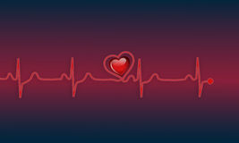 Ekg. Illustration of a ekg with 3d heart Royalty Free Stock Photos
