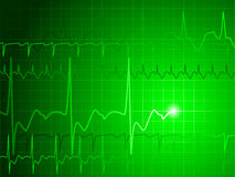 EKG background. Medical background with green ekg heartbeat pattern Stock Photos