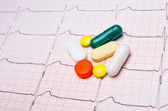 EKG chart with pills Royalty Free Stock Images