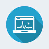 EKG on computer screen. Flat and isolated vector eps illustration icon, with minimal design and long shadow Stock Photo