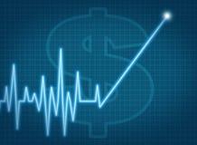 Ekg de la subida de los precios de las acciones de los impuestos del crecimiento del cuenta de ahorros Foto de archivo