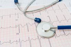 EKG / ECG chart and stethoscope Stock Photos