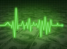 EKG ECG financial health economy money status savi. EKG ECG financial health economy representing money status and savings Royalty Free Stock Photos