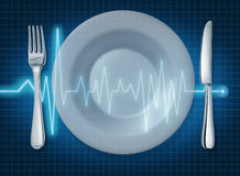 EKG ECG food healthy lifestyle food plate heart he. EKG ECG food healthy lifestyle food plate representing heart health and artery clogging diet Stock Photo