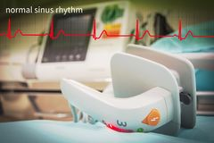 Paddle EKG or ECG monitor. EKG or ECG monitor in emergency room selective focus paddle royalty free stock image