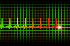 Ekg/ecg pulse diagram header. Human heart beat pulse 3D diagram Stock Photos