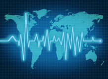 EKG ECG world health economy blue map Royalty Free Stock Photos