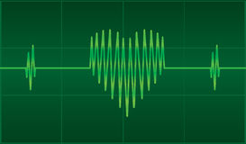 EKG heart. EKG monitor showing heart shaped line Royalty Free Stock Image