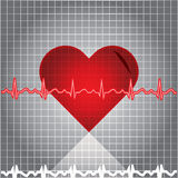 Ekg heart beat. On texture Stock Photography