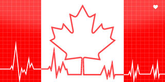 EKG Heart Monitor With Canada Theme. Conceptual Canada theme EKG Heart monitor - Canadian flag with the heart pulse / lifeline taking shape of the Maple Leaf royalty free illustration