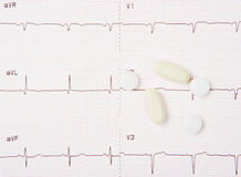 EKG And Heart Pills Stock Photography