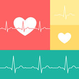 EKG and heart vector medical set. Heart and EKG line vector icons on red, yellow, and teal background Royalty Free Stock Images