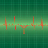 EKG man. Illustration of man hanging from EKG pulse Stock Photography