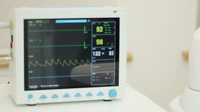 EKG monitor in ICU unit show The waves of blood pressure, blood oxygen saturation, ECG,heart rate stock video footage
