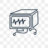 Ekg monitor vector icon isolated on transparent background, line vector illustration