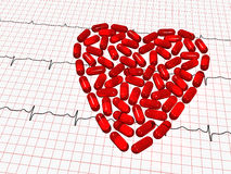 Ekg paper and red tablets heart Royalty Free Stock Photos