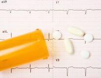 EKG, pillole del cuore e bottiglia Fotografia Stock Libera da Diritti