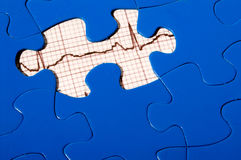 EKG Puzzle. A puzzle with an EKG under a missing piece Stock Images
