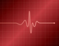 EKG - Red. Single pulse red medical EKG (ECG) graph Stock Photography