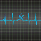 EKG running man pattern. Vector illustration of an EKG heart beat running man pattern Stock Photos