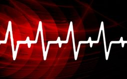 Ekg signal. On red screen Royalty Free Stock Photos