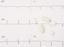 EKG y píldoras del corazón Fotografía de archivo