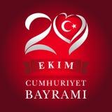 29 ekim cartolina d'auguri di Cumhuriyet Bayrami, del cuore e della bandiera nazionale illustrazione vettoriale